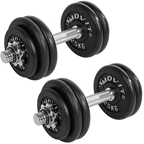 MOVIT® Gusseisen Kurzhantel 2er Set, Varianten 20kg, 30kg, 40kg, 50kg, 60kg, gerändelt mit Sternverschlüssen Chrom-Hantel-Set