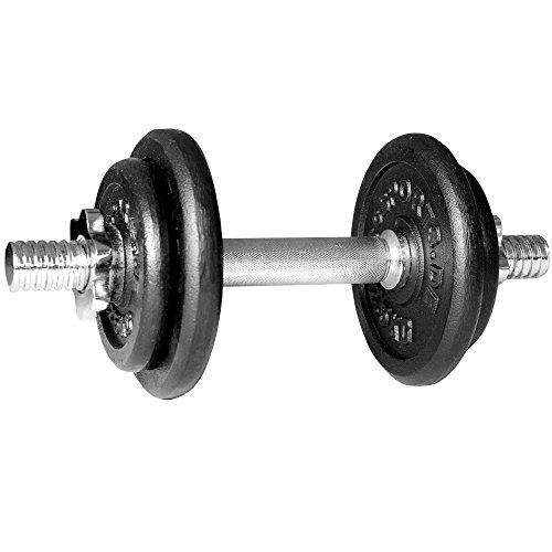 ScSPORTS 10 kg Hantelset Kurzhantel-Set, 1 x Kurzhantel 35 cm, Hantel aus massivem verchromtem Stahl Ø 30 mm, Hantelscheiben-Set Gusseisen 7,5 kg Gewichte, 30/31 mm Bohrung