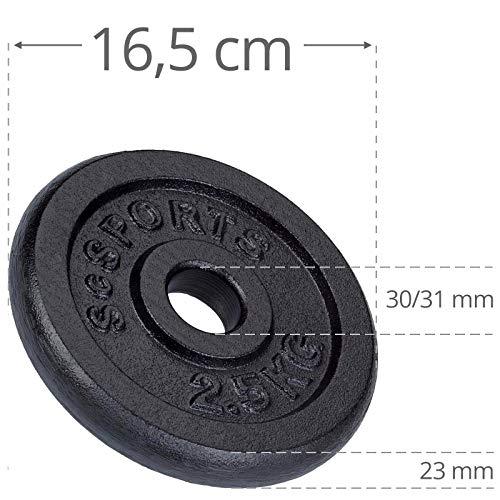 ScSPORTS 10 kg Hantelset Kurzhantel-Set, 1 x Kurzhantel 35 cm, Hantel aus massivem verchromtem Stahl Ø 30 mm, Hantelscheiben-Set Gusseisen 7,5 kg Gewichte, 30/31 mm Bohrung - 8