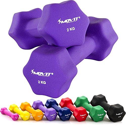 MOVIT® 2er Set Neoprenhanteln, Kurzhanteln Neopren, 8 Gewichts- und Farbvarianten - 2