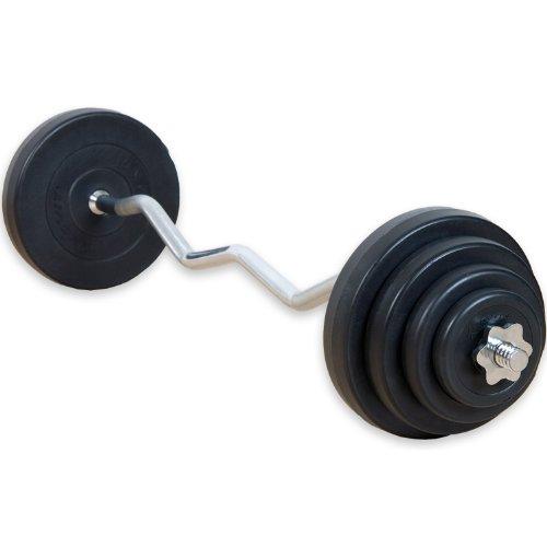 MOVIT® 23,5 kg Curlset, 1 SZ Curlstange gerendelt und verchromt mit Sternverschlüssen + 8 Gewichtsscheiben Hantelscheiben Curl Set Hantelset