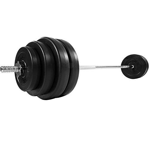 MOVIT® Langhantel Set 60,5 kg, Stange verchromt und gerendelt mit Sternverschlüssen, inkl. 8 Hantelscheiben, Hantelset Langhantelstange Gewichte Gewichtsscheiben Hantelscheiben - 4