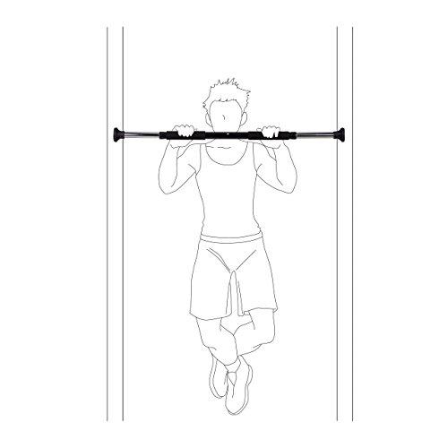 Relaxdays Türreck ausziehbar, Handpolster, Max. 100 kg, Fitness Klimmzugstange, HBT: 5,5 x 92 x 5,5 cm, schwarz